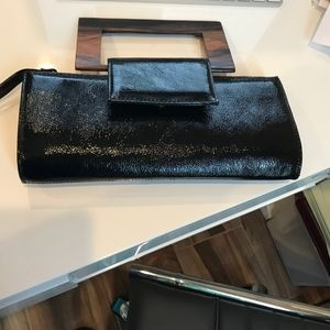 Black Patent Leather Evening Bag w/ Wooden Handle